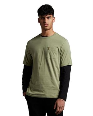 LYLE & SCOTT POCKET T-SHIRT IN RELAXED FIT MOSS FRONT