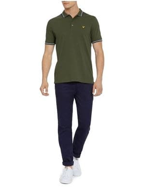 LYLE AND SCOTT TIPPED POLO UOMO VERDE FRONTALE INTERA