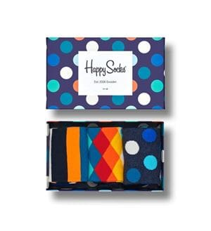 HAPPY SOCKS MIX GIFT BOX 3 CALZE SCATOLA APERTA