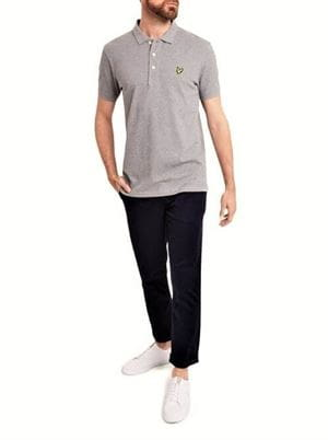 LYLE AND SCOTT PLAIN POLO SHIRT GRIGIO MEDIO FRONTALE INTERA