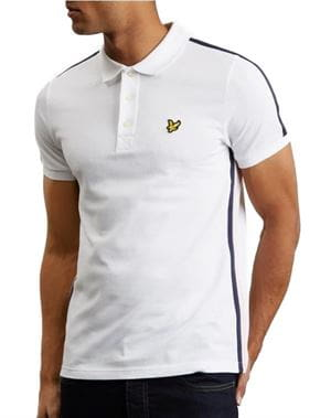 LS SIDE STRIPE POLO BIANCO FRONTALE