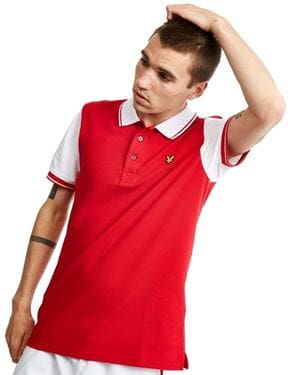 LYLE AND SCOTT TIPPED POLO BIANCO ROSSO FRONTALE