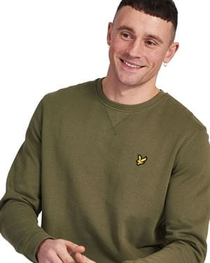 LYLE AND SCOTT CREW NECK BRUSHBACK SWEATSHIRT FELPA VERDE LICHENE DETTAGLIO
