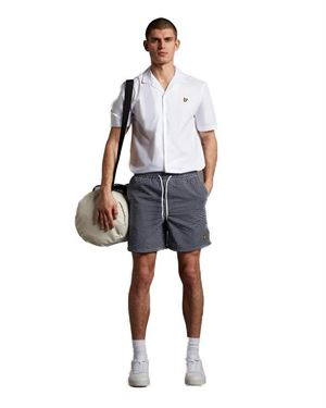 LYLE & SCOTT SWIM SHORTS IN GINGHAM COSTUME BLU SCURO FRONTALE