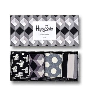 HAPPY SOCKS BLACK AND WHITE GIFT BOX CALZE SCATOLA APERTA