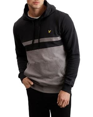 LYLE AND SCOTT YOKE STRIPE HOODIE FELPA UOMO NERO FRONTALE