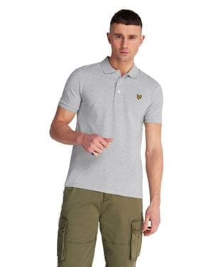 LYLE AND SCOTT SLIM STRETCH POLO SHIRT LIGHT GREY MARL FRONT