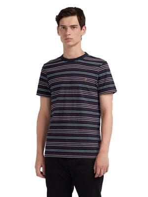 FARAH ROSEDALE SLIM FIT STRIPED T-SHIRT NAVY FRONT