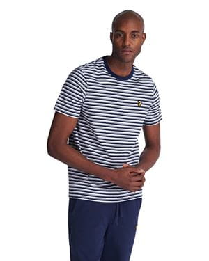 LYLE AND SCOTT STRIPE RINGER T-SHIRT NAVY FRONT