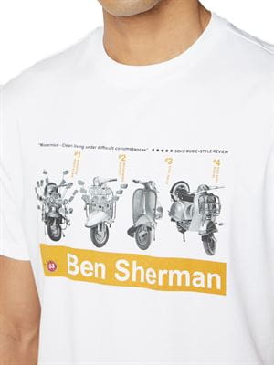 BEN SHERMAN SCOOTER TEE T-SHIRT WHITE DETAIL