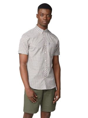 BEN SHERMAN MINI GINGHAM CHECK SHORT SLEEVE SHIRT FRONT