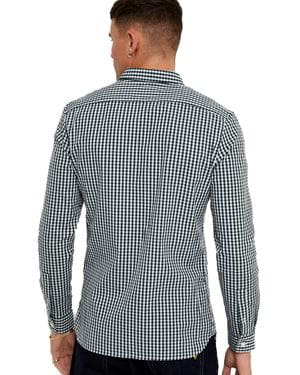 LYLE AND SCOTT GINGHAM CAMICIA UOMO BIANCO VERDE GIADA RETRO