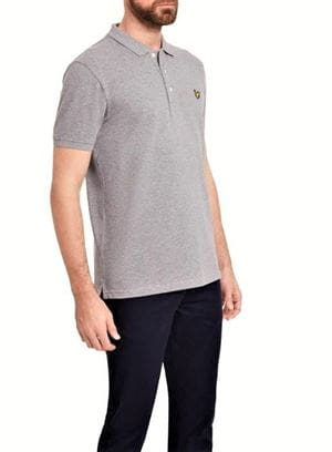 LYLE AND SCOTT PLAIN POLO SHIRT GRIGIO MEDIO LATERALE