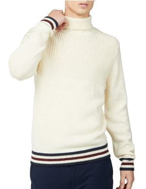 BEN SHERMAN TEXTURED ROLL NECK SWEATER MAGLIONE AVORIO FRONTALE