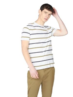 BEN SHERMAN COLLEGIATE STRIPE TEE T-SHIRT WHITE FRONT