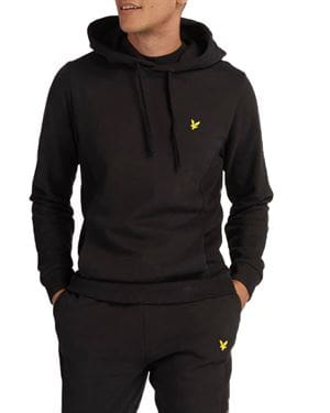 LYLE AND SCOTT PANELLED HOODIE FELPA NERO FRONTALE