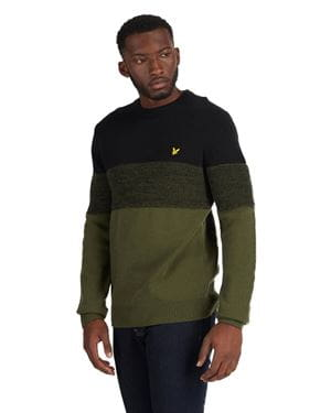 LYLE AND SCOTT CHEST PANEL KNITTED JUMPER MAGLIONE NERO OLIVA FRONTALE