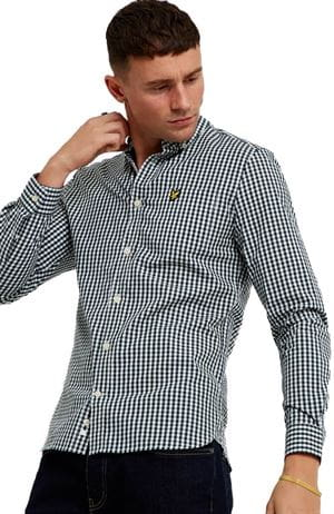 LYLE AND SCOTT GINGHAM CAMICIA UOMO BIANCO VERDE GIADA FRONTALE