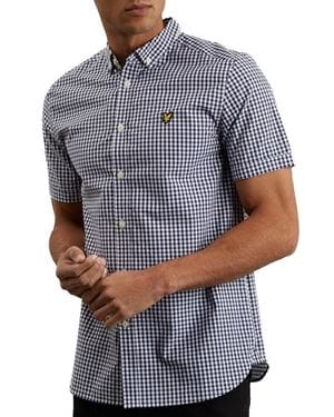 LYLE AND SCOTT GINGHAM SHIRT SHORT SLEEVE NAVY FRONT
