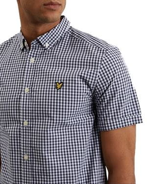 LYLE AND SCOTT GINGHAM SHIRT SHORT SLEEVE NAVY DETAIL