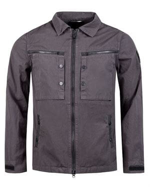 MARSHALL ARTIST MENS GARMENT DYED OVERSHIRT COLORE CARBONE FRONTALE