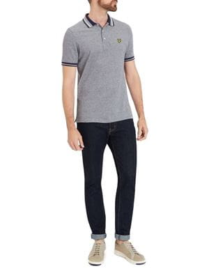 LYLE AND SCOTT POLO OXFORD GRIGIO BLU FRONTALE INTERA