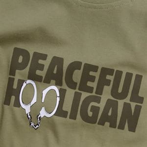 PEACEFUL HOOLIGAN CUFFS T-SHIRT UOMO VERDE STAMPA