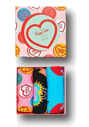 HAPPY SOCKS I LOVE YOU 3-PACK GIFT BOX CALZE ROSA SCATOLA