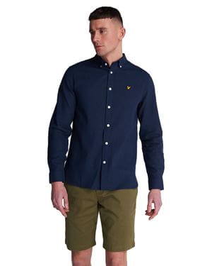 LYLE AND SCOTT COTTON LINEN SHIRT NAVY FRONT