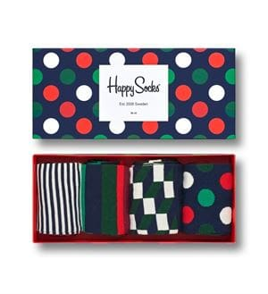 HAPPY SOCKS HOLIDAY BIG DOT GIFT BOX CALZE SCATOLA APERTA