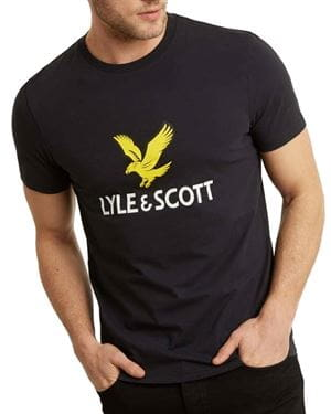 LYLE AND SCOTT LOGO T-SHIRT TRUE BLACK FRONTALE